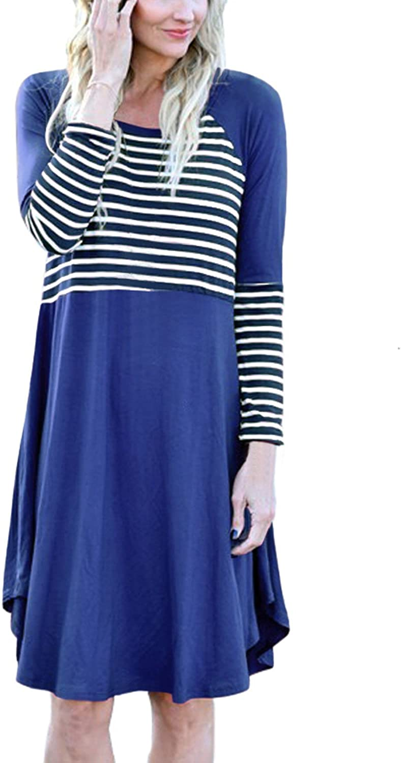HOTAPEI Women's Long Sleeve ALine Flare Casual Loose TShirt Midi Dress Striped