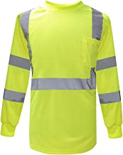 Work Shirt Safety, A-SAFETY Cool Dri Performance Mens High Visibility Force Long Sleeve Class 3 Tee