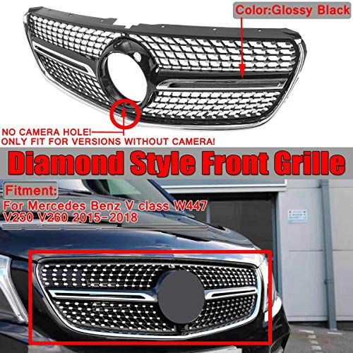 Auto Front Stoßstangengrill, Racing Mesh Diamond Style Grill Für W447 V-Klasse V200 V220 V250 V260 2015-2018 (Keine Kamera),Schwarz