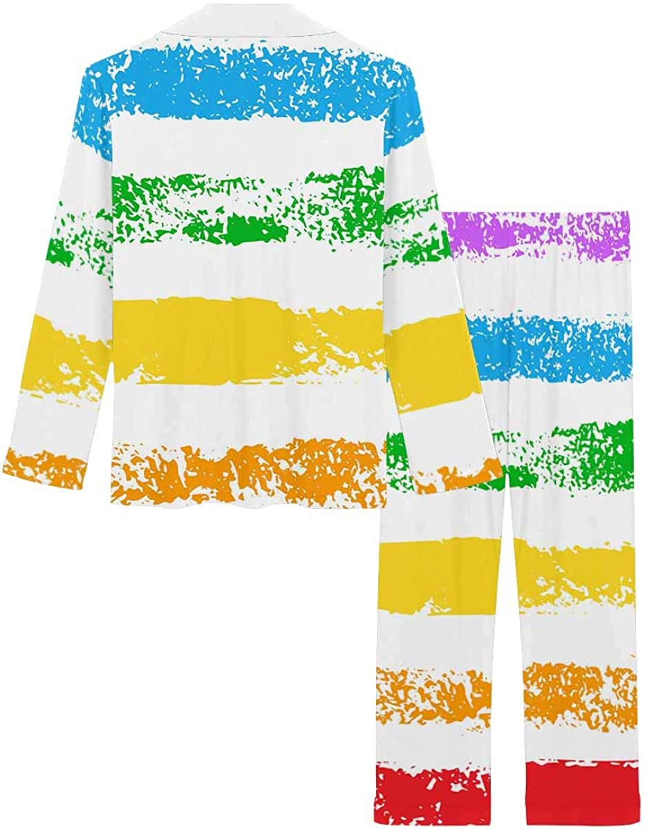 InterestPrint Sleepwear Button Down Loungewear with Long Pants Grunge Rainbow Sponge Print Striped