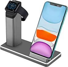 Dual Wireless Charger ZIKU 2 in 1 Aluminum Alloy Fast Wireless Charging Stand Station Dock for Apple Watch 5/4/3/2 iPhone11/ pro max X/XS/XR/Xs Max/8/8 Plus- with Adapter (Gray)