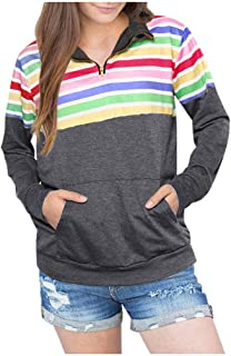 Women's Cozy Sweatshirt Outwear Long Sleeve Pullover Tops High Zipper Casual Floral Printed Sweatshirts with Pocket