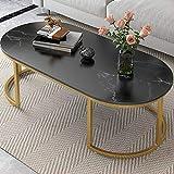 KaminHome - Mesa Centro Ovalada Kate mármol Artificial Lujosa Moderna instagramer Patas metálicas para salón Comedor habitación (Negro, 120 cm)