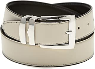 Men's Belt Reversible Wide Bonded Leather Silver-Tone Buckle CREAM/Black