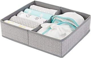 mDesign Soft Fabric Dresser Drawer and Closet Storage Organizer Bin for Child/Kids Room, Nursery, Playroom - Divided 2 Sec...