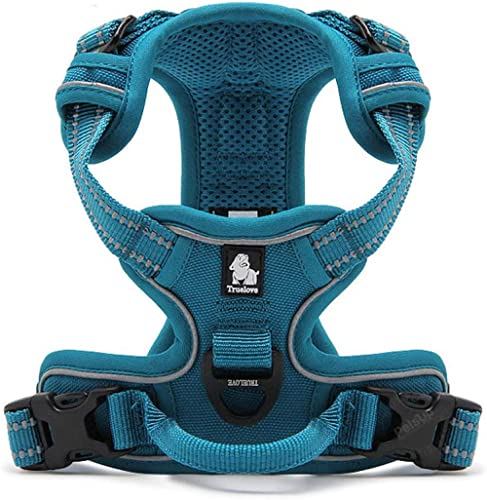 """PetsUp 3M Reflective Mesh Padded Dog Vest Front Range No Pull Harness with Handle ((69"""" - 81"""" cm Girth), Blue)"""