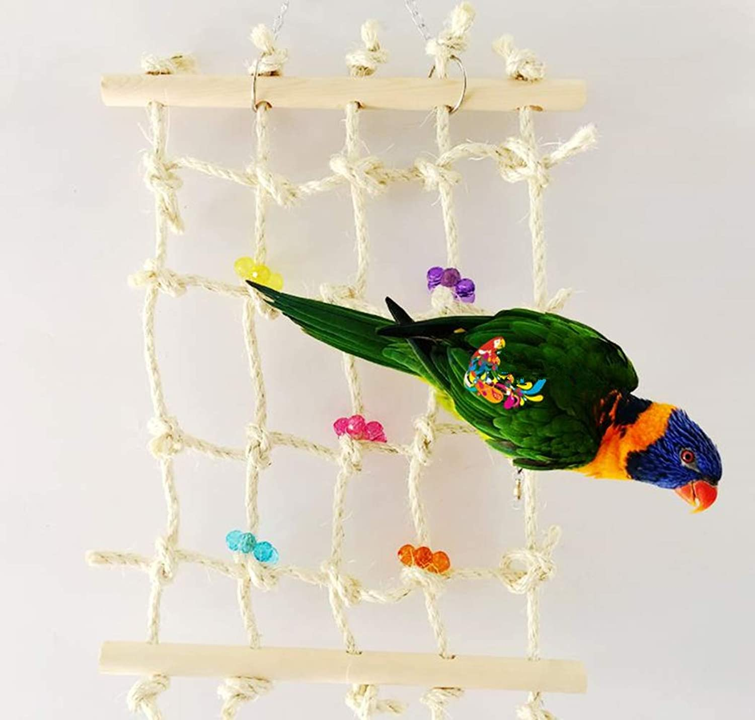 Ecoolbuy 40cm 15inch Acrylic Rope Net Swing Ladder Toy Pet Parred Birds Chew Play Climbing