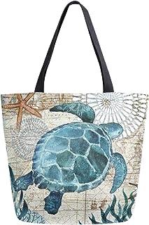 ZZKKO ZZKKO Einkaufstasche mit Meeresschildkröten-Motiv, Segeltuch, für Damen, Lehrer, Marineblau, Baumwolle, Einkaufstasche, Handtasche, wiederverwendbar, vielseitig verwendbar