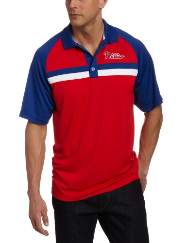 Majestic MLB Philadelphia Phillies Absolute Speed 3 Boutons synthétique Raglan Polo pour Homme, Homme, Athletic Red/Deep Royal/White