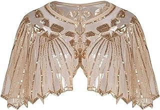 MCYs 1920er Jahre Retro Schal Perlen Pailletten Umschlagtücher für Abendkleider Stola für Hochzeit Party Gatsby Kostüm Accessoires