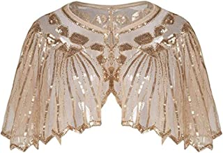 Clearance On Sale Litetao Womens Beaded Sequin Cloak 1920s Shawl Poncho Cape Flapper Cover Up Pullover Evening