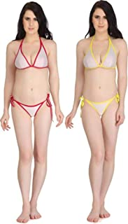 b4f5dd966806 Fashion Comfortz Women's Girls Net Lace Lycra Spandex (4WAY) Bikini Set for Women  Womens