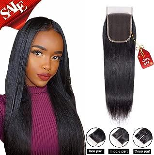 Brazilian Virgin Hair Human Hair Lace Closure Straight Human Hair Top Lace Closure 4X4 Free Part Naturl Black Color 10 Inch