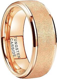 iTungsten 6mm 8mm Gold/Rose Gold Sandblasted Tungsten Rings for Men Women Wedding Bands Stepped Beveled Edges Comfort Fit