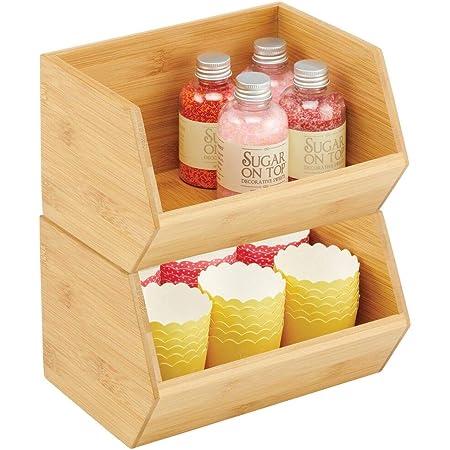 mDesign boite de rangement empilable – boite en bambou polyvalente pour placards de cuisine – caisse en bois de bambou écologique ouverte – 15,2 cm x 20,3 cm x 12,7 cm – lot de 2 – couleur nature