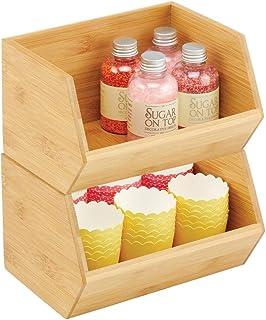 mDesign boite de rangement empilable – boite en bambou polyvalente pour placards de cuisine – caisse en bois de bambou éco...
