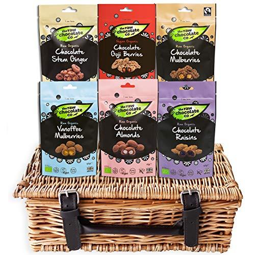 Organic Vegan Chocolate Gift Hamper - 6 x 110-125g Dark Chocolate Covered Nuts Coated Fruit Treats & Vegan Sweet Snacks, The Raw Chocolate Co, Vegan Father's Day Gift Box