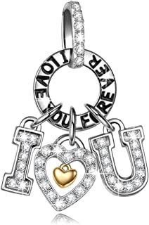 I Love You Christmas Charms Gifts 925 Sterling Silver 5A Cubic Zirconia Letter Dangle Charms Engraved with