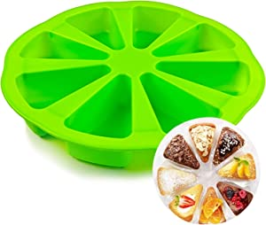Palksky 8 Cavity Silicone Scone Pan/Cakes Slices Mold/Portion Control Pizza Slices Pan for Cornbread Brownies Muffins And Soap Mould