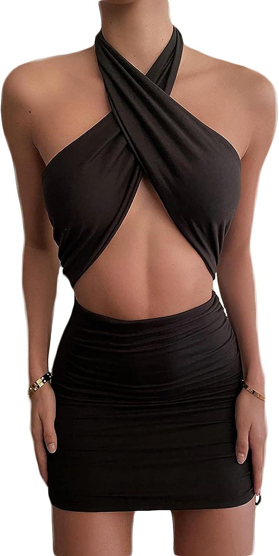 Velius Women's Sexy Halter Cutout Drawatring Solid Bodycon Party Mini Dress
