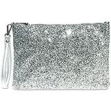 Caspar TA341 große Damen XL Glitzer Pailletten Clutch Tasche Abendtasche mit Handschlaufe, Farbe:silber/silber, Größe:One Size