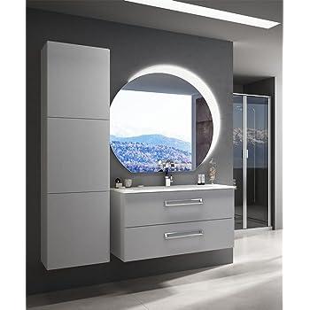 Mueble baño suspendido moderno Boston suspendido blanco Fresno, tamaño 100 cm, con espejo de LED, lavabo y columna: Amazon.es: Hogar