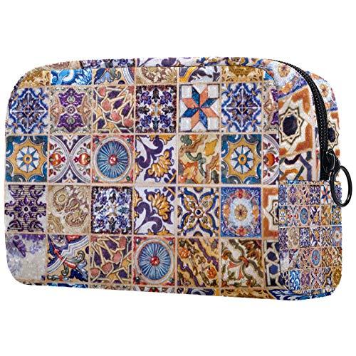 Bolsa de Maquillaje Bolsas de Aseo Organizador de cosméticos Bolsa con Cremallera para Mujeres Patrón de baldosas de cerámica Tradicional Europea