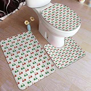 Ahuimin Bathroom Rugs Set, Vintage Scooters with Step-Through Frame on Display Lively Colors Spotlight, Non Slip Bath Mat Toilet Lid Cover Toilet Rug Set
