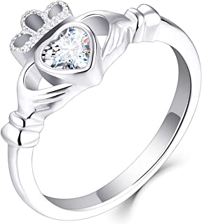 JO WISDOM 925 الفضة الاسترليني مكعب زركونيا روز الذهب كلاداغ القلب خواتم الوعد لها ، خواتم حجر الميلاد للنساء