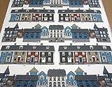 Stoff Meterware Baumwolle Schweden Haus Häuser blau weiß