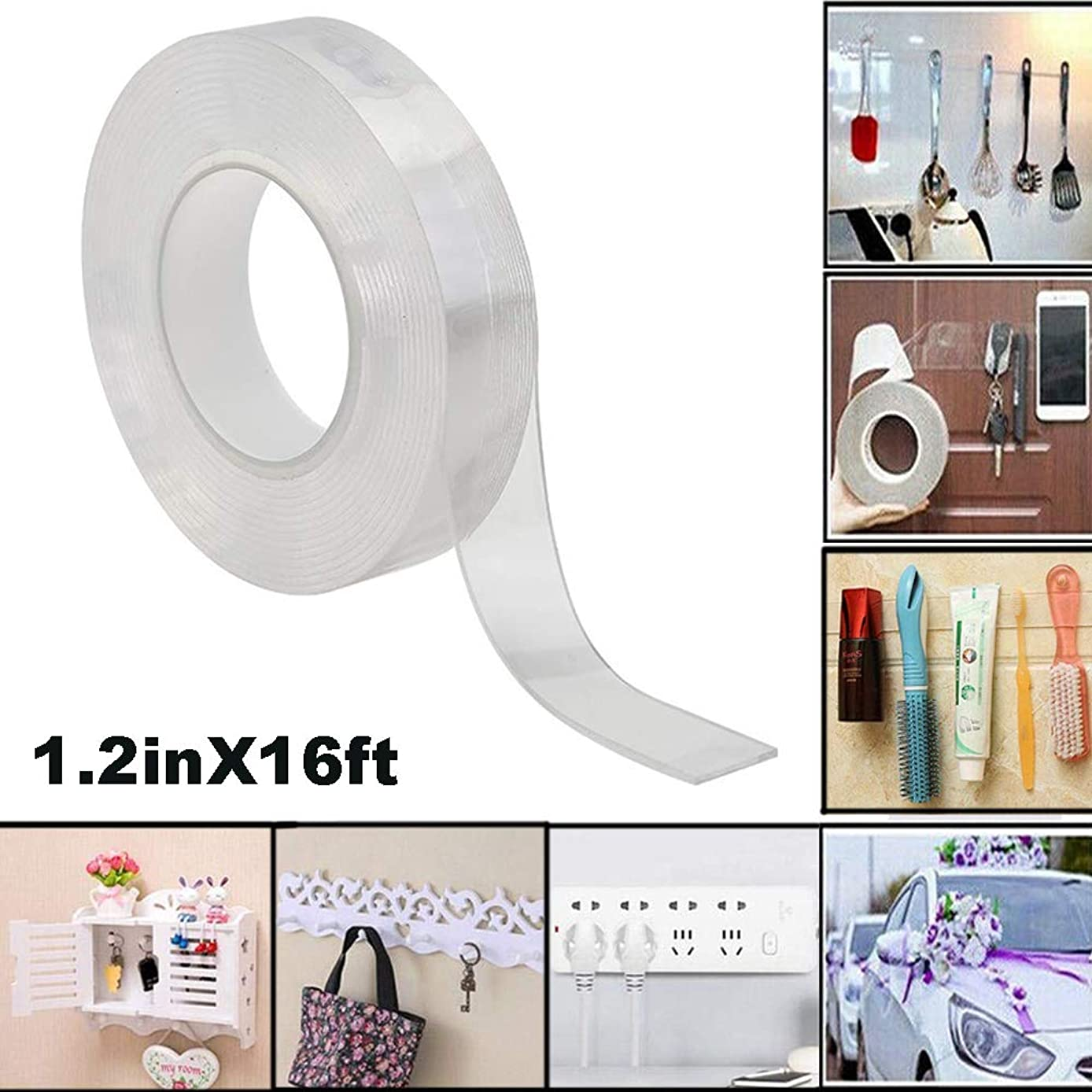 SEAMETAL Traceless Washable Adhesive Tape,Reusable Clear Double Sided Anti-Slip Nano Gel Pads,Removable Sticky Strips Grip10ft (1.2inX16ft)
