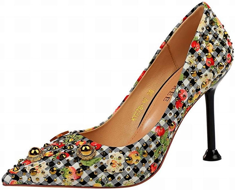 BAACHANG BAACHANG BAACHANG Frauen Stoff Farbe abgestimmt Plaid High Heels Spitzen Metall Strass Niet High Heels einzelne Schuhe  eba3ae