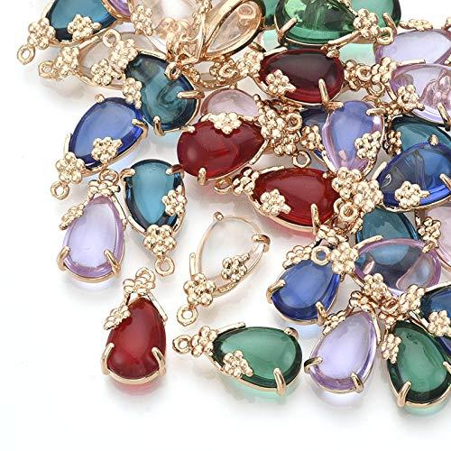Craftdady 50 colgantes de cristal con forma de gota de agua y cristales de lágrima colgantes de diamantes de imitación para joyería de novia collar pendientes