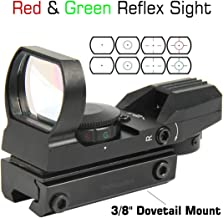 TACFUN Red and Green Reflex Sight with 4 Reticles, 3/8