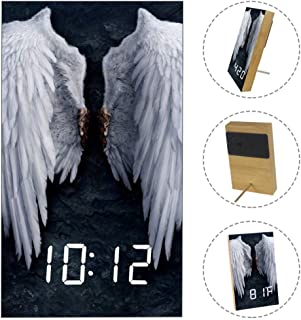 imobaby Art Decoration Wooden LED Clock Broken Angel Wings Printed Fashion Multi-Function Alarm Clock with Sound Control,Timer, Thermometer