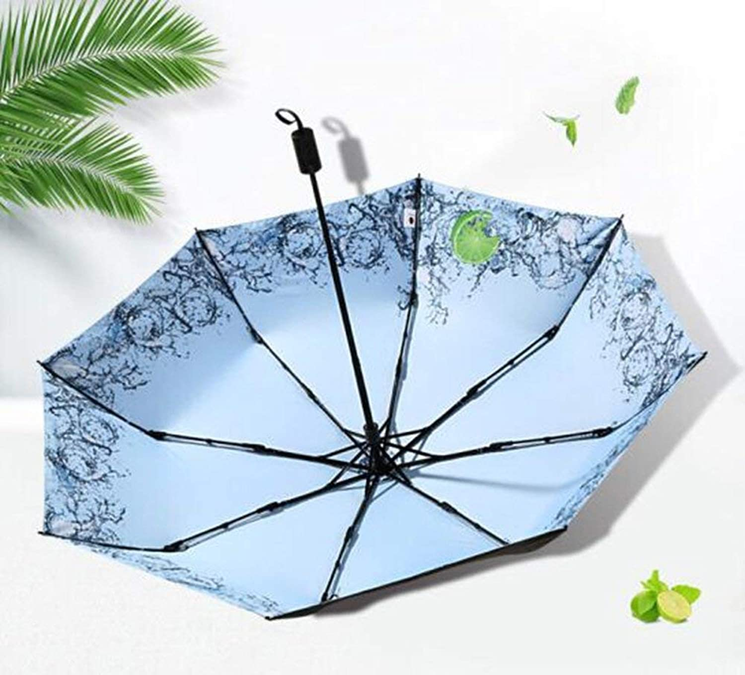 Three Fold Umbrella, Anti-Uv Umbrella Fold Reinforcement Windproof Rain Foldable, Non-Slip Handle Windproof Umbrella, ZDS