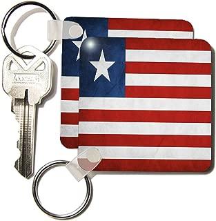 3dRose Liberia Flag - Key Chains, 2.25 x 4.5 inches, Set of 2 (kc_28265_1)