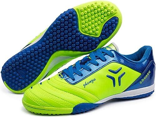 CELINEZL Le Football Brille Zhenzu Chaussures de Football en PU, entraîneHommest Professionnel en Plein air, Taille  44 (Vert)