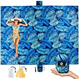 UrbanEco Outdoors Lightweight Beach Blanket - Oversized 107' x 77' - Waterproof Sandproof - Double Anchored for Fun Leisure Beach Blanket - With Stake Pouch and Plastic Stakes - Durable Sand Beach Mat