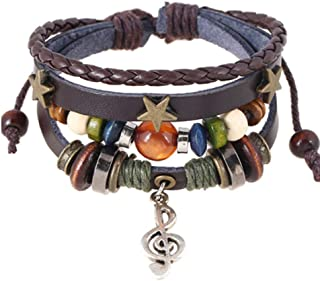 MA Multilayer Leather Bracelet Women Fashion Musical Note by Mona Attic