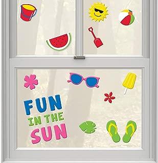 Summer Reusable Gel Cling Window Decorations Sun, Beach Ball, Flip Flops, Watermelon (1 Sheet 23 Clings)