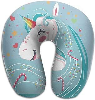 Almohada para el cuello Almohada de viaje Happy Rainbows Unicornios Almohada compacta Almohada de apoyo para el cuello Coj/ín de descanso para dormir,transpirable y c/ómodo,Almohada para el cuello de vi