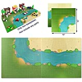 Grassland Rivers Pattern Baseplate 10' x 10' - Building Brick Base Plate Compatible with All Major Brands ,for City Roads Building Blocks Kids Toy (1 Straight + 1 Curve )