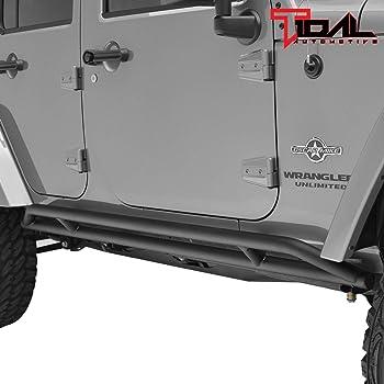 Tidal Rock Slider Steel Round Side Step for 18-19 Jeep Wrangler JL 4Door