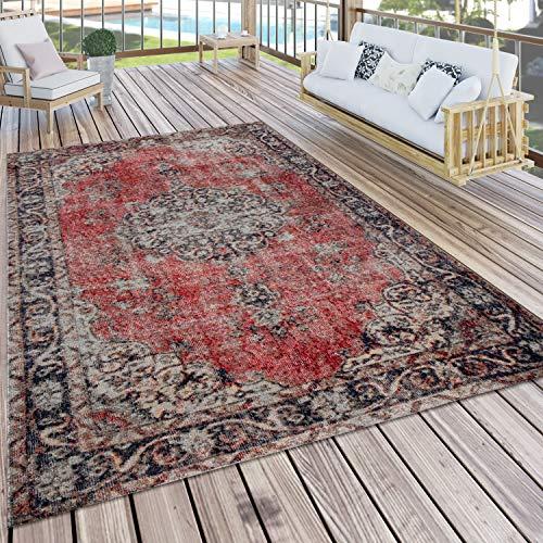 Paco Home In- & Outdoor-Teppich Mit Orient-Muster, Für Balkon Und Terrasse, In Rot, Grösse:240x340 cm