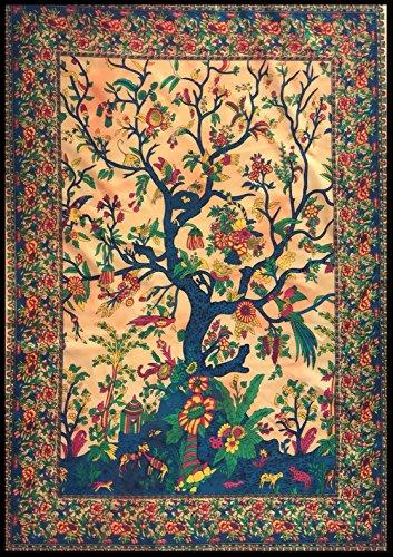 BellaMira Baum des Lebens echte Abalone-Paua-Muschel Halskette Ohrringe Schmuck indische Meditation Baumwolle Tapisserie Batik Poster Größe 76,2 x 101,6 cm (Wandkunst – Baum des Lebens (Bernstein))