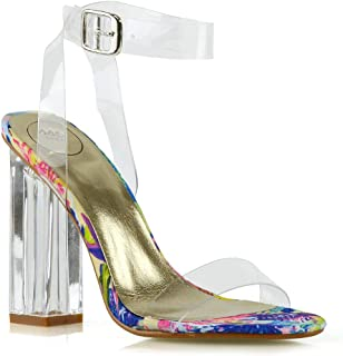 3ab0c89a73fe ESSEX GLAM Womens Ankle Strap Clear Heel Peep Toe Perspex Sandals