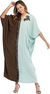 Blossom Dress for Women's Abaya Hot Sales Over Size New Design Fahion Hit Color V-Neck Muslim Robe Maxi Dress Jalabiyan
