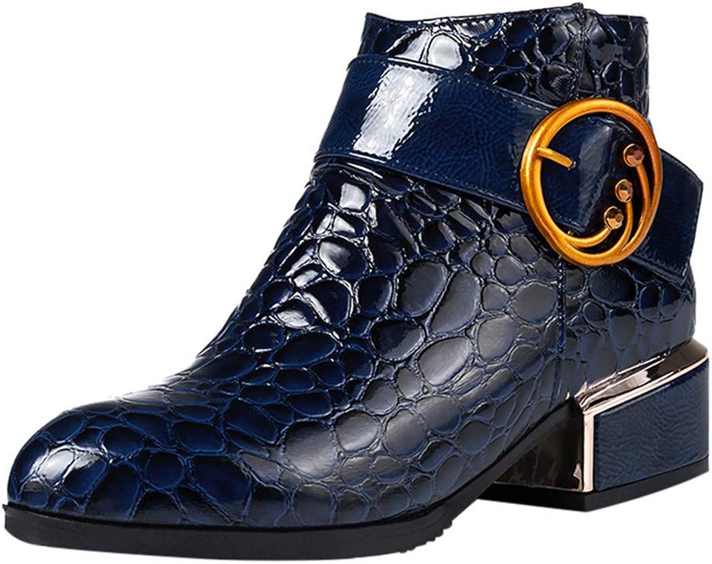 Corriee Womens Zipper Ankle Boots Big Women's Fashion Crocodile Pattern shoes Boot