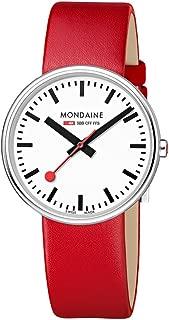 Mondaine Women's SBB Stainless Steel Swiss-Quartz Watch with Leather Strap, red (Model: MSX.3511B.LC)